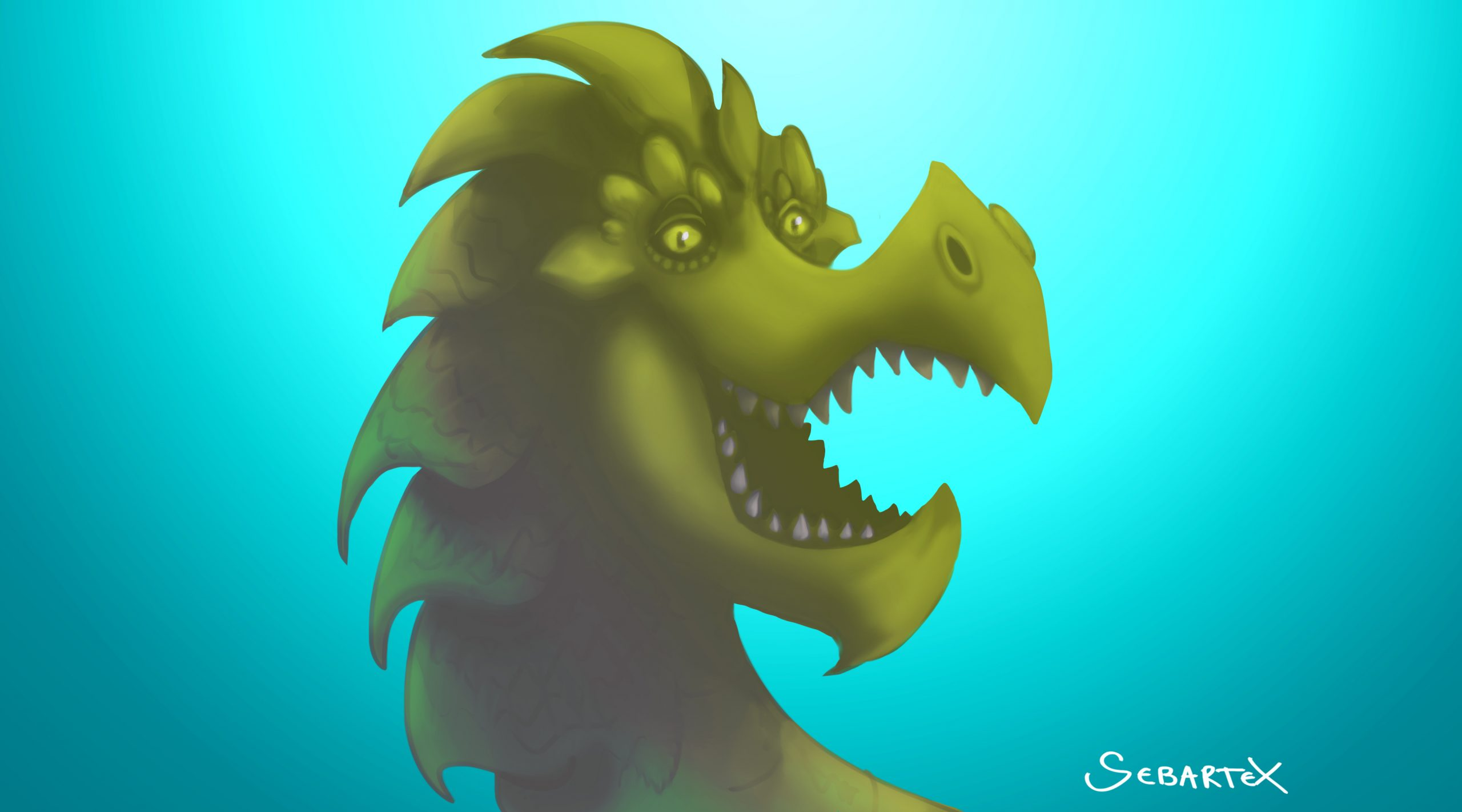 happy dragon digital painting