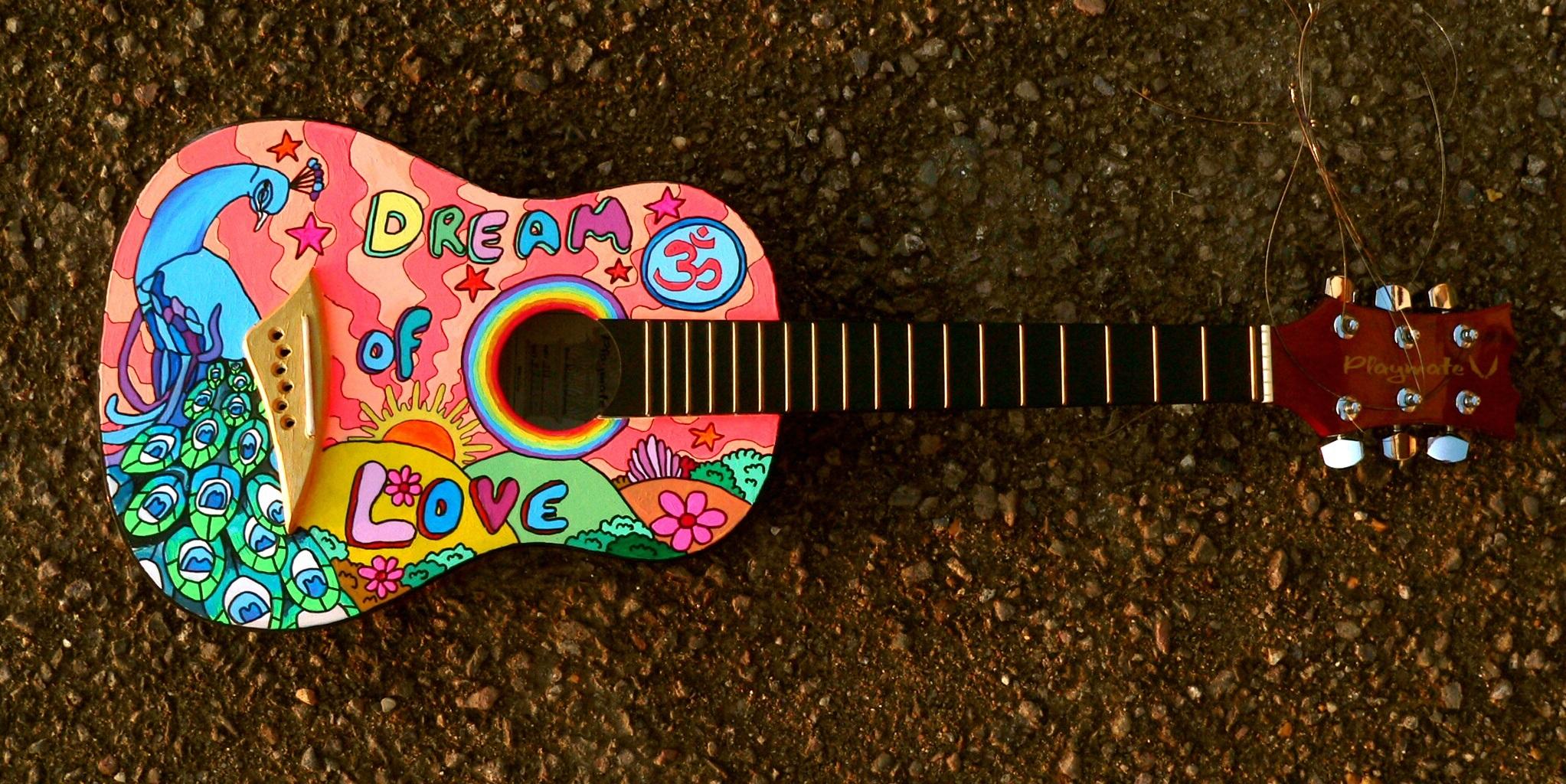 vintage colorful guitar