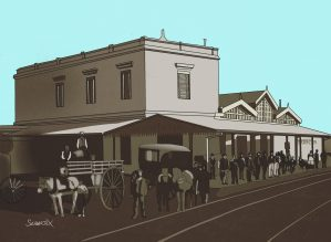 old train station painting