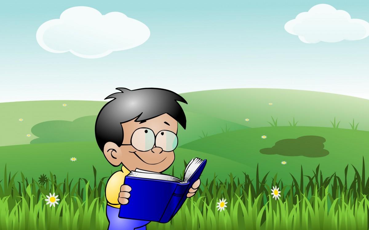 child reading cartoon