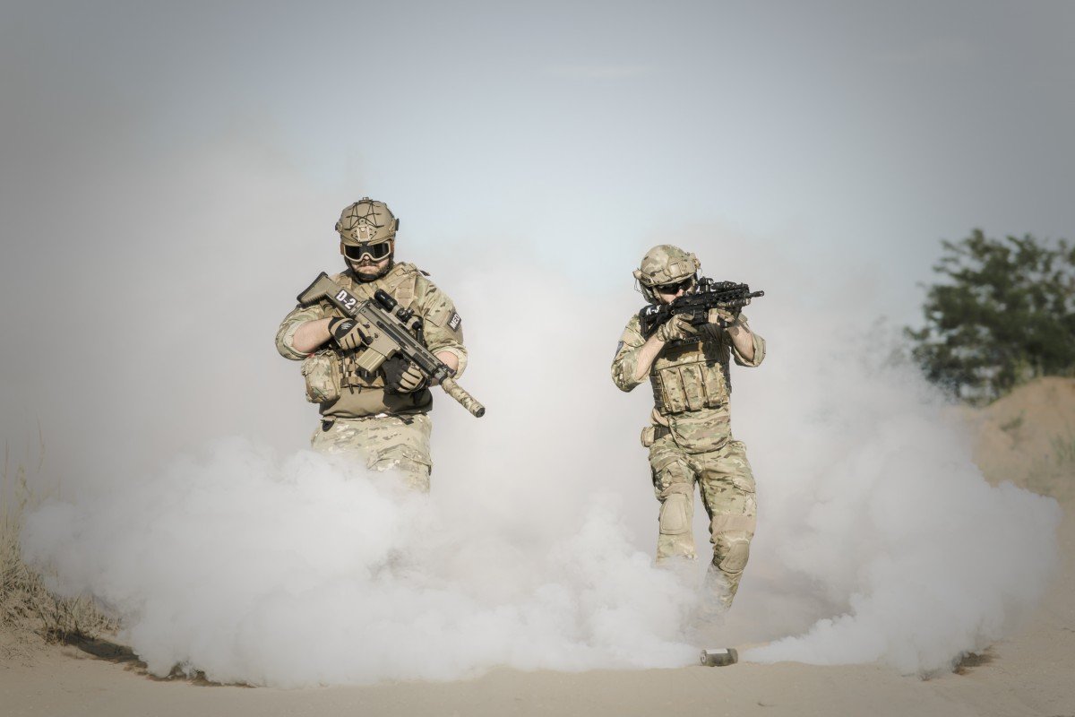 soldiers in the smoke